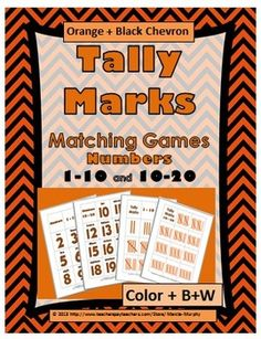 Orange & Black Chevron Tally Marks Matching Games (Numbers & ~ Students match the cute orange and black chevron numbers a. Math Numbers, Fun Math Activities, Math Games For Kids, Math Classroom, Maths, Kindergarten, Thanksgiving Math, Tally Marks, Kindergartens
