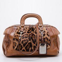 Dolce and Gabbana Leopard Printed Calf Hair Miss Romantique Satchel