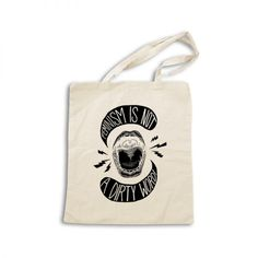 - This canvas bag makes a bold statement in support of feminism.