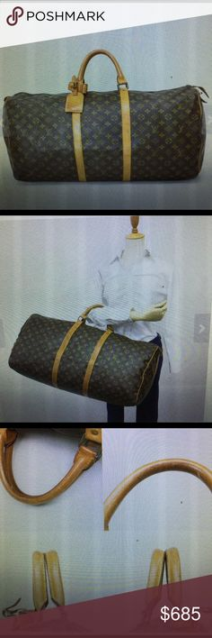 """Louis Vuitton jumbo 60 travel carry all bag Authentic Vuitton jumbo bag used wear tear normal no damage canvas great inside clean 24x14x10.5"""" price firm Louis Vuitton Bags Travel Bags"""
