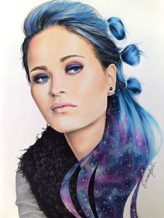 Portrait of Sanni Kurkisuo by emmijulin on DeviantArt Red Yellow Turquoise, Purple, Galaxy Hair Color, Hair Colour, Apple Model, Female Pictures, Deviantart, Colorful Drawings, Face Art