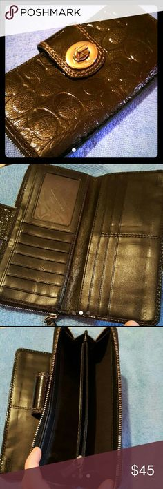 Coach Patent Leather Embossed Wallet Coach patent leather embossed black leather wallet. Really pretty. In good used condition. Coach Bags Wallets