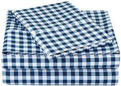 Blue Plaid Sheet Set Twin Extra Long White Microfiber Soft XL Sheets New Bedding Twin Xl Sheet Sets, Twin Sheets, King Sheet Sets, Bed Sheets, Kids Twin Bedding Sets, Blue Bedding Sets, King Size Sheets, Gingham, Blue Plaid