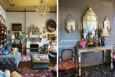 <strong>ANGLOMANIA</strong> Left: in the living room, the English comforts of deep upholstered seating mix with an 18th-century Dutch mirror, Italian paintings and an Indian rug. The velvet sofa is a copy of one designed by Robert Kime. Right: an 18th-century Venetian console flanked by Louis XV armchairs.