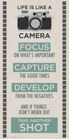 Life is like a camera. Focus on what's important, capture the good times, develop from the negatives and if things don't work out take another shot. thedailyquotes.com
