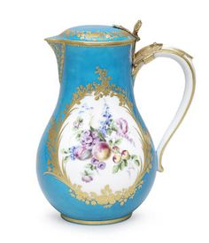 A rare Vincennes gold-mounted bleu céleste-ground water jug and cover, most likely made for Marie Josèphe, Dauphine of France, dated 1754