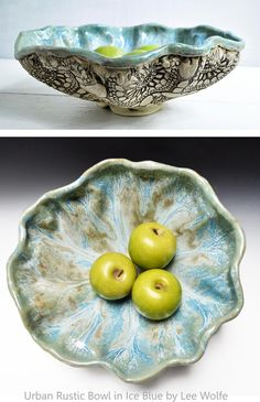 Lee Wolfe Pottery — hand built ceramic bowl lace texture $85