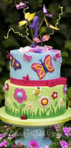 Butterflies Garden Birthday Cake