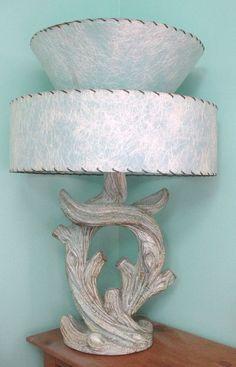 RARE MAJESTIC 50's TABLE LAMP~ATOMIC EAMES RETRO~PopArt~FiberGlass Shd
