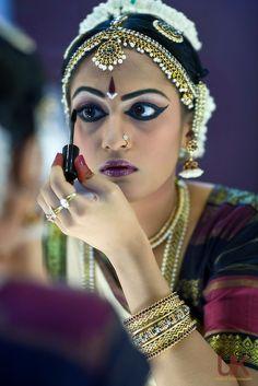 Anjali getting her makeup done before Arangetram