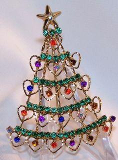 RHINESTONE CHRISTMAS TREE PIN-HEART DESIGN-PRONG SET STONES-LIZ CLAIBORNE-NIGB | eBay