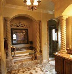About Bathrooms Powder Rooms On Pinterest Mediterranean Bathroom