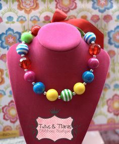bubble gum necklace | Bubblegum Beads Bright Chunky Boutique Girls Ribbon Necklace , Bright ...