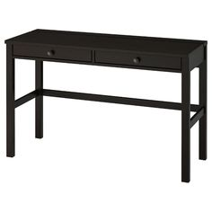 "HEMNES Desk with 2 drawers, black-brown, 47 1/4x18 1/2"". Solid wood is a durable natural material. Ikea Hemnes Desk, Micke Desk, Hemnes Bed, Ikea Nightstand, Black Desk, Alex Desk, Ikea Canada, Industrial Design Furniture, White Stain"