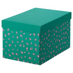 TJENA Storage box with lid – green dotted – IKEA - gessca. Storage Boxes With Lids, Bed Frame With Storage, Lid Storage, Photo Storage, Billy Regal, Recycling Process, Magazine Files, Recycling Facility, Ikea Family