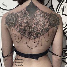 Great backpiece by Rebecca Zombie Smania. Jewelry Tattoo, Lace Tattoo, High Class, Ink, Henna, Women, Style, Fashion, Tatoo