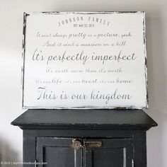 This large farmhouse style sign is sure to add some extra charm to your home! Rustic Farmhouse Decor, Farmhouse Signs, Rustic Decor, Farmhouse Style, Painted Letters, Hand Painted, Johnson Family, What Is Advertising, Rustic Wedding Signs