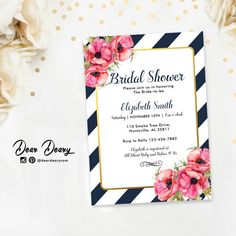 Navy & Gold Bridal Shower Invitation, Modern Chic Stripe Bridal Shower Invite, DIY Printable - C062 by deardeary on Etsy