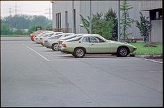 Porsche Marketing Department at Ludwigsburg. Five 928 press cars shown. Photo taken by Dan Lindsay, Spring 1977
