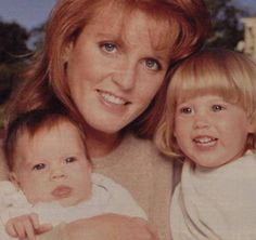 Sarah, Duchess of York with princesses Beatrice Eugenie.