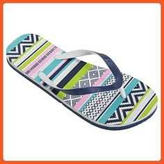 FLOSO Womens/Ladies Aztec Pattern Toe Post Flip Flops (9-10 US) (Green/Pink/Blue) - Sandals for women (*Amazon Partner-Link)