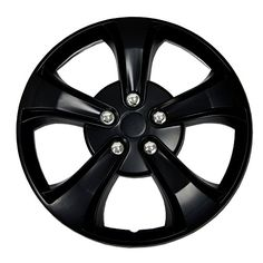 TuningPros Hubcaps Wheel Skin Cover Matte Black Set of 4 ** Learn more by visiting the image link.