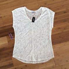 Express Lace Top Lovely cream colored lace. It is see-through so can be worn over a cami. Brand new, no flaws Express Tops
