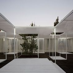 Trees and exhibition stands line up with skylights<br /> inside Umwelt's Ambient 30_60 pavilion