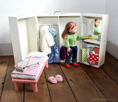 18 In Doll House Plans Beautiful Doll Closet Folding 18 Inch Doll Furniture Storage Trunk Diy Clothes Storage, Doll Storage, Storage Trunk, Diy Kids Furniture, Doll Furniture, Furniture Storage, Dollhouse Furniture, American Girl Doll Bed, American Doll Clothes