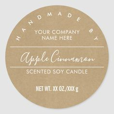 Handmade Candle Kraft Paper Look Product Label