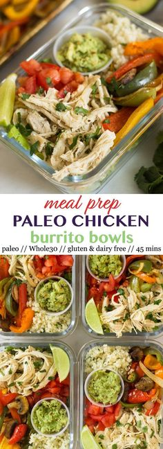 Paleo Chicken Burrito Bowls make for a fresh, inexpensive, and healthy dish for an easy meal or meal prep. Makes 5 servings.