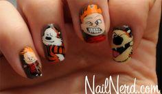 Calvin and Hobbes nail art