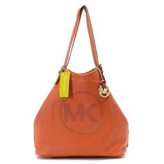 Michael Kors Perforated-Logo Grab Large Orange Shoulder Bags.More than 60% Off, I enjoy these bags.It's pretty cool (: JUST CLICK IMAGE~ | See more about michael kors, michael kors outlet and outlets.