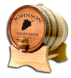 Northwest Gifts - Custom Vineyards Barrel, $69.95 (http://northwestgifts.com/custom-vineyards-barrel/)