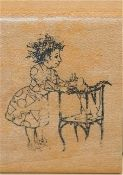 Bruce Degen Ms. Frizzle Wood Block Rubber Stamp from Magic School Bus Book Series by Kidstamps