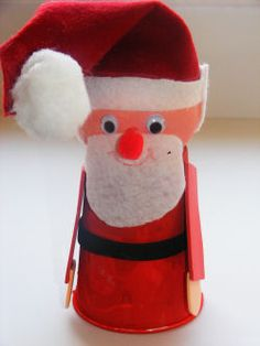 Cup And Ball Santa Craft for Christmas art class :) cuters!
