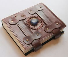 Antique Double Belt Leather Journal With Polished Stone - Handmade Poetry Unique
