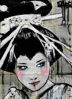 """blue eyed geisha"" by Loui Jover Geisha Drawing, Geisha Art, Illustrations, Illustration Art, Newspaper Art, Ap Studio Art, Ap Art, Art Club, Art Plastique"