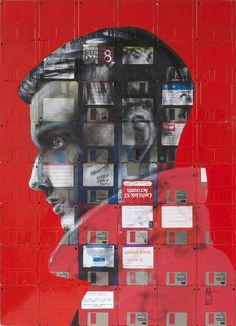 British-born artist Nick Gentry takes old floppy disks, AOL CD mailers, boot disks down to VHS tapes and turn them into art. This piece is called LIFE STORY.