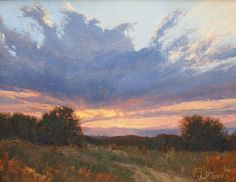 Cherry Creek Sunset by David Harms Watercolor Landscape Paintings, Seascape Paintings, Colorful Paintings, Light Painting, Landscape Art, Nocturne, Cherry Creek, Southwestern Art, Aesthetic Painting