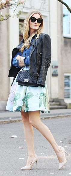 Mint Floral Skirt Streetstyle