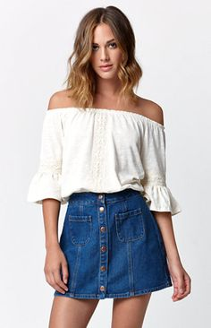 c7be0301361 Just ordered this denim skirt from Pacsun. Absolutely love the trend and  cant wait to