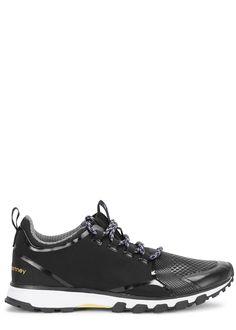 adidas X Stella McCartney black neoprene trainers  Stripes, ADIPRENE®forefoot, ADIWEAR™ outsole, yellow designer stamp, printed grey sockliner  Lace-up front