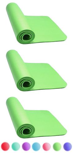 Thick Exercise Yoga Floor Mat Nbr 24 X 71 Inches Great for Camping Cardio Workouts Pilates Gymnastics (Green)