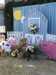 Loving the decor at this Farm themed birthday party! See more party ideas and share yours at CatchMyParty.com #farm #partydecorations