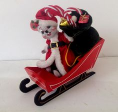 ANNALEE CHRISTMAS MOUSE IN SLEIGH 2003