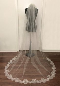 Chapel length veil Chantilly Lace by CoutureBrideBoutique on Etsy