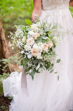 Dreamy blush and cream flowers with eucalyptus