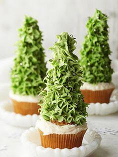 Ice cream cones on cupcakes to make trees!