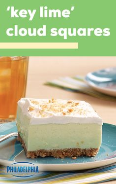 Key Lime' Cloud Squares – Get a taste of the tropics when you whip up this delicious dessert recipe. Ready for the fridge after just 20 minutes of prep time, this no-bake sweet treat is sure to be a go-to this spring. Jello Desserts, No Bake Desserts, Easy Desserts, Delicious Desserts, Key Lime Desserts, Passover Desserts, Jello Salads, Baking Desserts, Baking Cupcakes